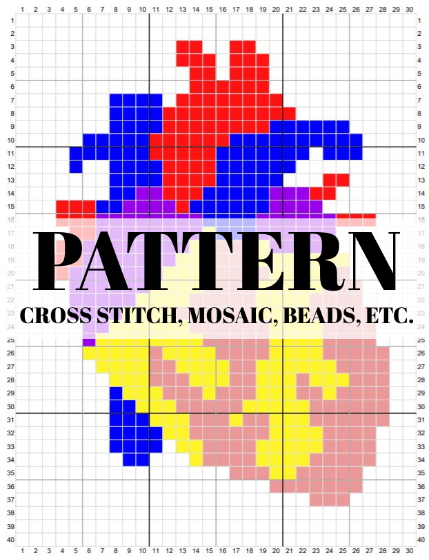 "A grid of 30 x 40 squares with a simplified pixelated image of a human heart. Superimposed are the words, ""Pattern - cross stitch,mosaic, beads, etc."""