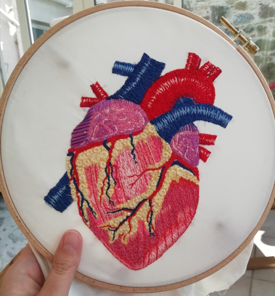 A hand holding a wooden embroidery hoop with a detailed hand-sewn embroidery of an anatomical heart, approximately life size.
