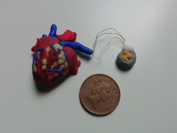 Beside a 1p piece to show the tiny scale, a human heart with grey cardiac device (attached by 3 wires) made of polymer clay.