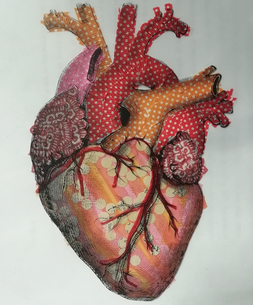 A collage of an anatomical heart made from paper in shades of orange, red, pink and muted yellow, with a detailed diagram of the same heart printed on acetate and overlaid on the collage.