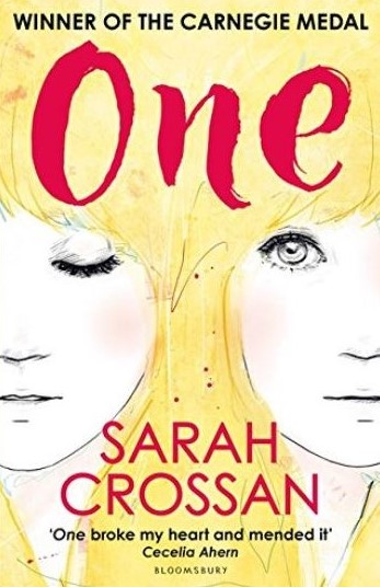 "Book cover - One by Sarah Crossan, featuring an illustration of two young women's identical faces with long hair blending together. One girl has eyes open, one has eyes closed. Additional text on cover reads: ""Winner of the Carnegie medal,"" and, ""One broke my heart and mended it - Cecelia Ahern."" Publisher: Bloomsbury"