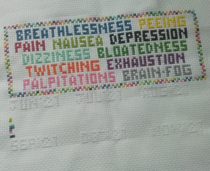 White aida/cross-stitch fabric. At the top, in capital letters are various words, each stitched in a different colour of thread: berathlessness (dark blue) peeing (yellow) pain (red) nausea (lime green) depression (black) dizziness (pale blue) bloatedness (dark green) twitching (orange) exhaustion (purple) palpitations (pink) brain-fog (grey). The words are surrounded by a rectangular frame in a chequerboard pattern using these same colours. Underneath, stitched in white thread, are the months and year from June '21 to November '21. Underneath June 21 are two columns of stitches (with some gaps) in colours that match some of the words at the top.