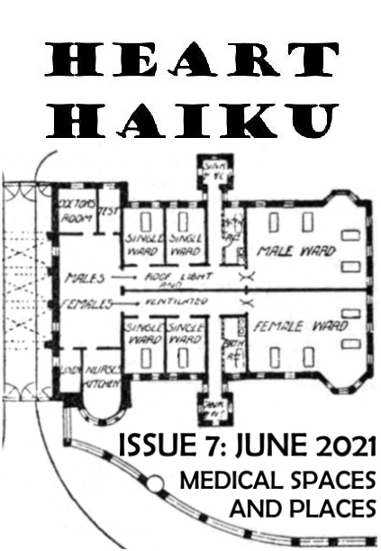 """Black and white cover of zine. Text reads: """"Heart Haiku. Issue 7: June 2021. Medical Spaces And Places."""" The image shows part of an old hospital floor plan, with rooms marked male ward, female, ward, single ward, nurses kitchen, doctors room, etc."""
