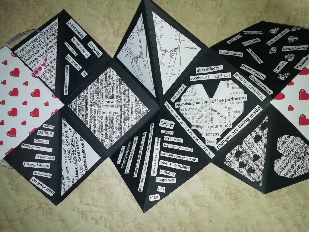 """A close up view of some of the pages from the previous image. Some sequences of words (mostly individually cut out and collaged) are visible. For example, one section reads, """"Waiting patient. Chronic symptoms breathless severe failure to function on your own."""" Another panel, made up of two triangles has """"She denies [illegible layered text] attempting hills or stairs there has been some decline she needs advanced heart failure therapies Patients at the heart of progress"""" arranged vertically, and """" cancel [underline] distress depression feelings of dread difficult conversations. She is compliant - she is happy with this plan."""" Another segment has illegible multiple layers of text running vertically, with the words """"how/to tell you"""" glued on top, horizontally. There's also an incomplete anatomical diagram of the heart, divided across two sections and an origami heart folded from a medication information leaflet, with various short sections of text glued across and around it, e.g. """"side-effects: ; addition of Dapagliflozin; shaking, sweating; necrotising fasciitis of the perineum; change in your mood; tiredness; pain; keep her under surveillance and monitor her."""""""