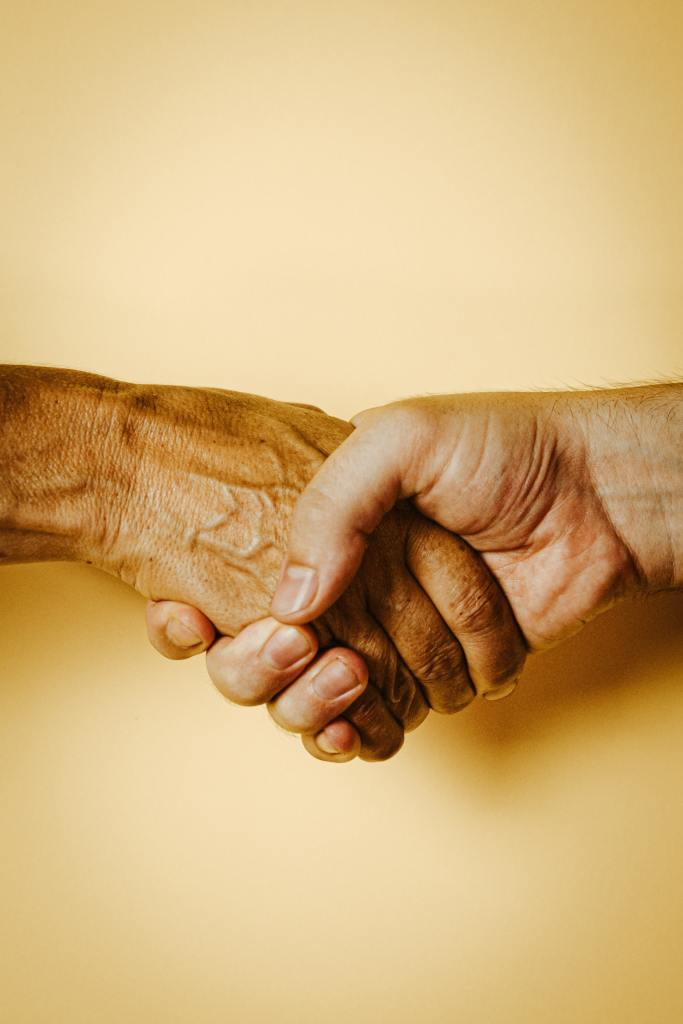 Two adult people's hands hold one another in a handshake-type grip. The photo is cropped at the wrists and has a plain pale yellow background.