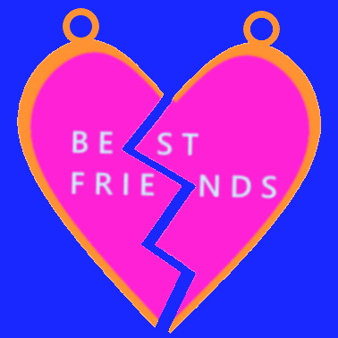 """A simplified digital image of a stereotypical heart-shaped pendant pair with the words """"best friends"""" written across them, half of each word on each half of the heart so they become readable when joined together."""