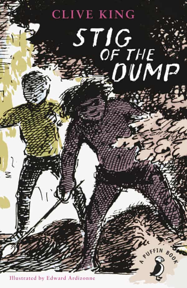 Book cover: Stig of the Dump by Clive King, published by Puffin, Illustrated by Edward Ardizonne. A pen and ink drawing of a messy-haired boy (wearing a loin cloth and holding a spear) peering out from behind some bushes. Behind him a boy in more contemporary trousers and jumper looks on.